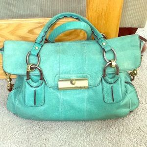 💕 Coach sea green leather large satchel nice 💕